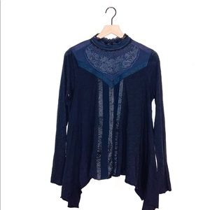 Free People NWOT | Navy Blue Lace Mock Neck Top